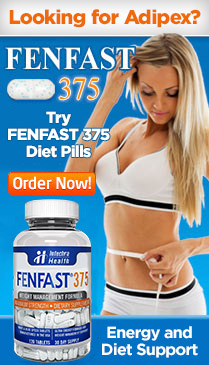 Ad: Looking for Adipex? Try FENFAST 375 diet pills, showing photo of FENFAST 375 bottle and slim girl measuring waist